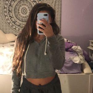 Hollister Tops - hollister grey zip up cropped hoodie